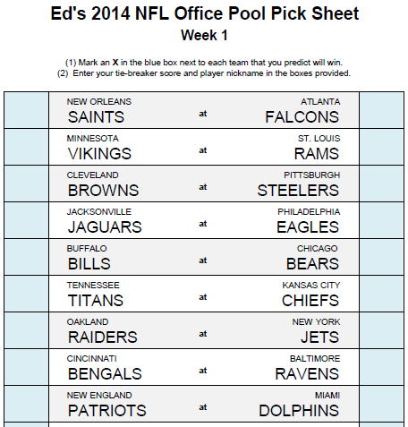 free office football pool sheets